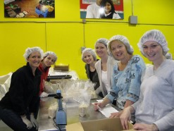 Looking stylish while helping at the SF Food Bank