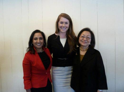 MIT Alum and keynote speaker Dhaya Lakshminarayanan, SF Alumnae Social Chair Bailey Haws, and Marin Chapter President Dale Satake at 2013 Founders Day Celebration